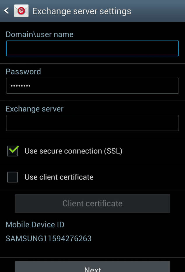 Android settings for Microsoft Exchange Server - Step4